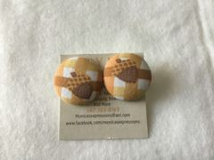 Large Acorn Fabric Button Earrings