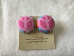 Large Peace Pink Fabric Button Earrings