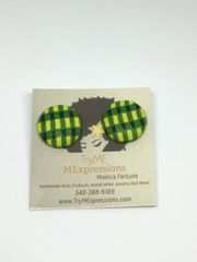 Jamaican Colors Fabric Button Earrings