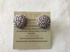 Small Brown Flowers Fabric Button Earrings