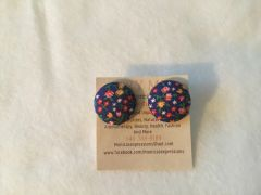 Explosion Of Flowers Fabric Button Earrings