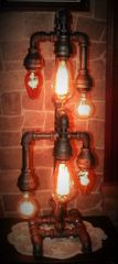 Mr. Edison 6 bulb Tiered Industrial Pipe Lamp
