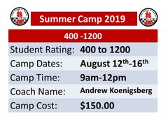 Summer chess Camp August 12th to 16th, 2019 intermediate students