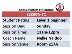 Chess lessons for beginner players, 11:00am to 12:00pm