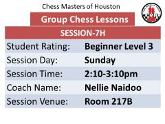 Sunday chess session 7H level 3 beginner unrated to 400