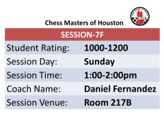 Sunday Session 7F 1:00pm-2:00pm,1000 to 1200 rated players
