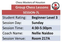 Sunday chess lesson-session 7L level 3 beginner, 4:30-5:30pm