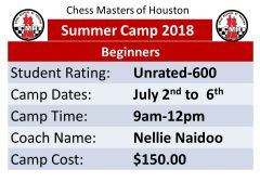 Summer Camp for Beginners, July 2nd to 6th, 2018