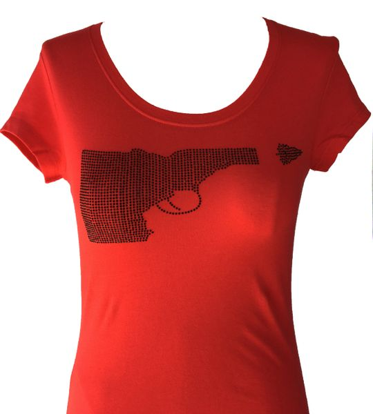 Idaho Gun Black Rhinestone T-shirt - Red