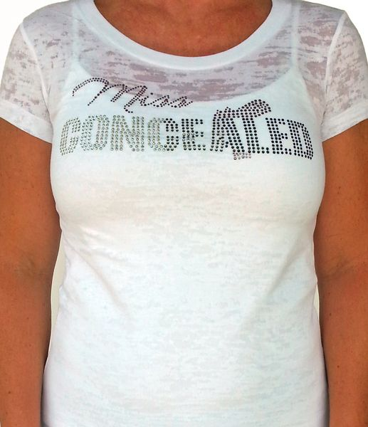 Ladies Miss Concealed Bling T-shirt - White