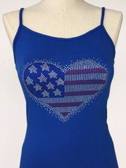 Bling American Flag Heart - spagetti strap tank top - Blue