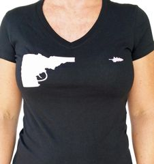 Ladies Idaho Gun T-shirt - Black/Grey