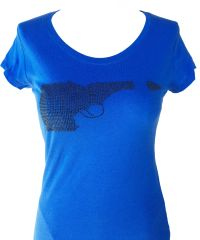 Idaho Gun Black Rhinestone T-shirt - Blue