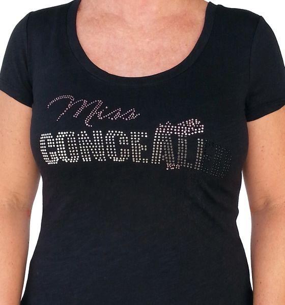 Ladies Miss Concealed Bling Short Sleeved T-shirt - Black