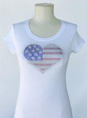 American Heart Bling T-Shirt - White