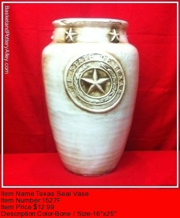 Texas Seal Vase 1527f Basket And Pottery Alley