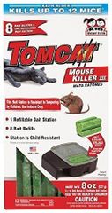 Tomcat Mouse Killer III (Kid Resistant Mouse Bait Station, Box w/ 8 Baits.