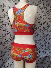 Red Chinese dragon racer back top