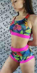 Tropical paradise (full) high waisted panel pant.