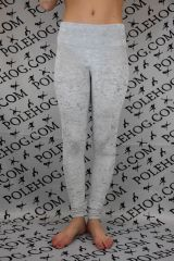 Silver crushed velvet leggings