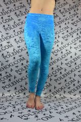 Turquoise blue crushed velvet leggings