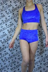 Royal blue (full) crushed velvet high waisted panel pant