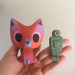Baby Fox and Robot resin figure set