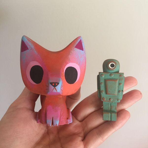 Baby Fox and Robot resin figure set
