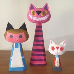 Wonderland Cat Bust Trio