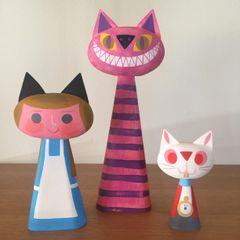Wonderland Cat Bust Trio
