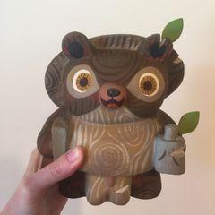 Wood Tanuki resin figure