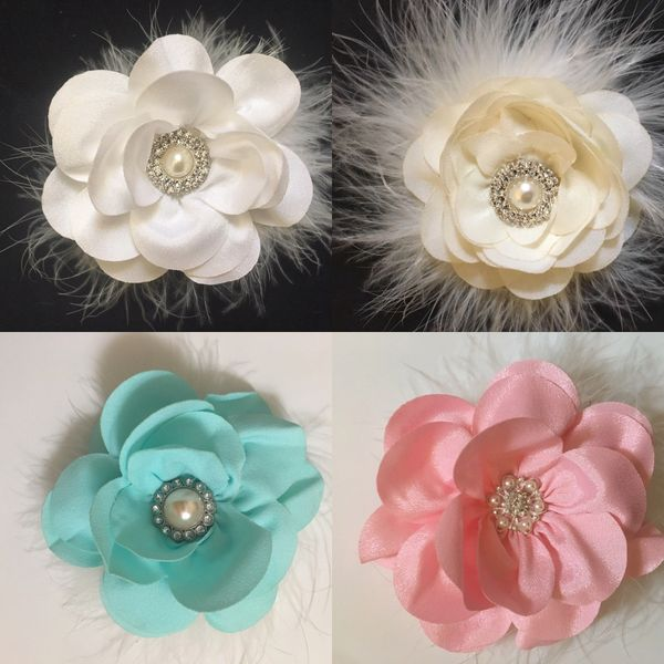 Flower hair clip white flower clip ivory hair clip navy clip flower girl hair clip whiteivorypink mint navy chiffon flower mightylinksfo