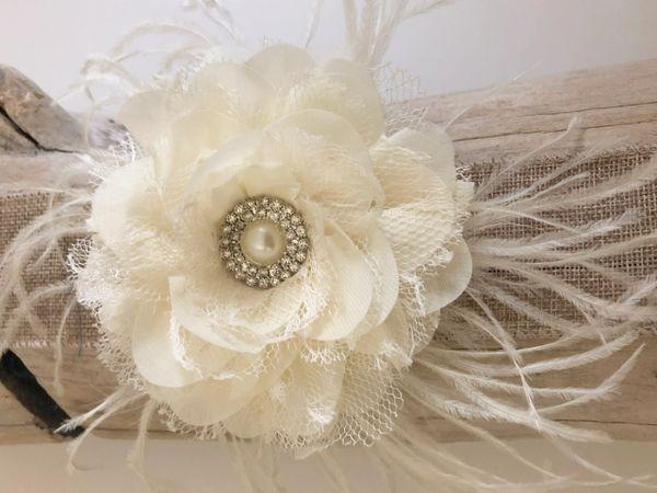 Bridal flower hair clipivory flower hair clip white flower clip ivory chiffon lace flower feather hair clip mightylinksfo