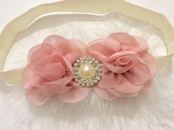 Pale pink hair clip white hair clip handmade baby headband fancy pale pink pearl flower hair clip boutique baby headband mightylinksfo
