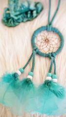 "2"" Traditional Native American Mint Suede Dreamcatcher"