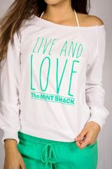 The Mint Shack Off the Shoulder Long Sleeve French Terry Top
