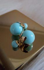 Double Side Pearl Balls Stud Top Brass Mint Earrings