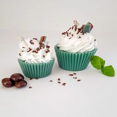 Handmade Stella Star Chocolate Mint Cupcake Candles