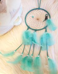 "6"" Traditional Native American Suede Dreamcatcher in Teal / Mint"