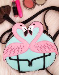 Pink & Mint Flamingo Love Shoulder Crossbody Bag Vegan Leather