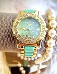 Original Geneva Mint Green and Gold Quartz Watch Mineral Crystals Embellished