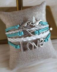 Infinity Love Forever Symbol Multi Layer Sterling Silver Leather Bracelet