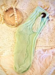 Mint Crochet Lace with Coconut Button & Tassel Ankle Socks