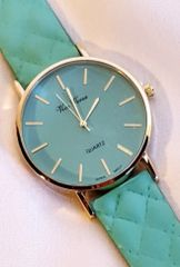 Limited Edition Vice Versa Quilted Mint Pleather Watch
