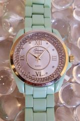 Geneva Original ~ Quartz Mint Sport Watch with Inlaid Mineral Crystals and a Matte Gold Metal Band