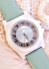 Vice Versa ~ Metallic See-Thru Case Quartz Watch with a Mint Leather Band