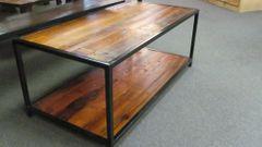 2' X 4' Reclaimed Pine w/ Shelf and Steel Base