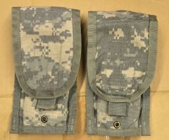 Lot of 2 - US Military Army ACU Molle II M-Series Double Mag Ammo Pouches EUC