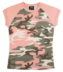 WOMEN'S SUBDUED PINK CAMO SHORT SLEEVE RAGLAN T-SHIRT
