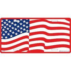 USA WAVY FLAG LICENSE PLATE